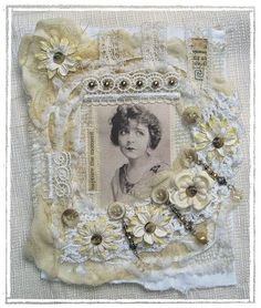 fabric collage - great cover or page for journal