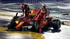 El terrible accidente sobre el inicio del GP de Singapur que dejó fuera de carrera a los pilotos de Ferrari - Infobae