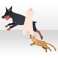 アクセサリ/ネックレス系 ジャンプで飛び出す犬と猫
