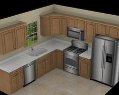 Kitchen Awesome L Shape White Marble 10x10 3d Kitchen Plan With Single Window And