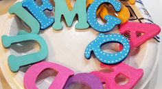 Colorful wooden alphabet letters mobile (Part Wooden Alphabet Letters, Alphabet Letter Crafts, Preschool Crafts, Preschool Alphabet, Little Library, Crafts With Pictures, Craft Free, Wax Paper, Book Nooks