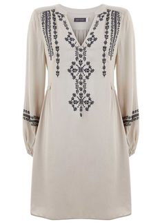 Vanilla & Grey Embroidered Folk Dress