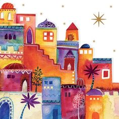 Amnesty Christmas Card; Bethlehem Christmas Nativity, Christmas Art, All Things Christmas, Jewish Crafts, Jewish Art, Happy Paintings, Christmas Paintings, Tole Painting, Vintage Christmas Cards