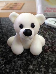 Cute handmade icing/fondant white polar bear cake topper
