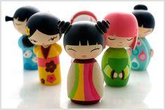 Colorful kokeshi dolls