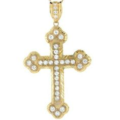 14k Real Yellow Gold and CZ Beautiful Small Christian Cross Pendant Jewelry Liquidation. $634.50. Made in USA!. Made with Real 14k Gold!