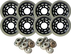 68mm 80A Inline MULTI SURFACE Skate Wheels + BEARINGS by Pro Stock. $24.99. This auction is for a set of 8 New 68mm 80a Blank Black Inline Wheels. This is a special 80a durometer pour which is suitable for multi-surface use. Abec 5 Bearings Included.