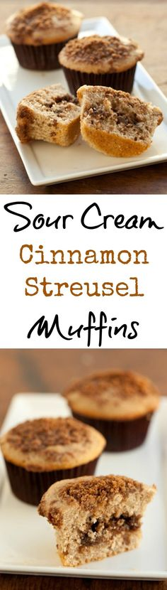This sour cream cinnamon streusel muffin recipe has a delicious pecan filling! This delicious cinnamon muffin recipe with streusel topping has step-by-step photos so your muffins will turn out perfect! You could even call these coffee cake muffins, because they turn out just like mini coffee cakes. Give them a try! | pinchmysalt.com
