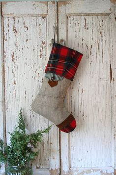 Tartan Wool Christmas STOCKING with Suede Leather by SmokinTweed