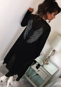 Free Soul Black Longline Cardigan With Wing Motif Detail Womens Size 12 Longline Cardigan, Black Cardigan, Long Cardigan, Pink Boutique Uk, Free Soul, Long A Line, Sweater Weather, Stretch Fabric, Fashion Looks