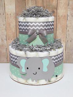 2 Tier Mint & Grey Elephant Diaper Cake Gender Neutral Baby