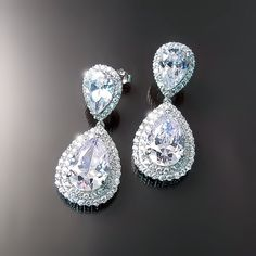 Teardrops dangle CZ earrings - Cubic Zirconia For evening, special occasion or as wedding jewelry