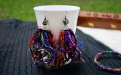 A personal favorite from my Etsy shop https://www.etsy.com/listing/505229821/multicolor-statement-earrings-long-sari