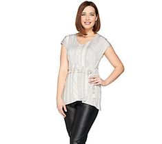 H by Halston Jet Set Jersey Printed Wrap Front Top