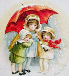 A s Clapsaddle Children Red Christmas Umbrella IAP Postcard Emb | eBay