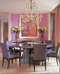 Dining room in shades of purple from designer Jamie Drake..Jamie is one of the designers who has adapted the Regency-Empire styles that date back to the early 19th century