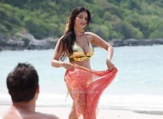 Sunny Leone Adiction Deodorants Photoshoot in Golden Bikini