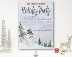 Charming country snowman holiday Party Invitation with a winter rustic mountain scene featuring snow and trees. Christmas Dinner Invitation, Christmas Party Invitations, Dinner Invitations, Digital Invitations, Birthday Party Invitations, Christmas Cocktail Party, Christmas Cocktails, Holiday Parties, Invitation Design