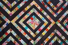 """kinda sorta log cabin - great quilt for my 2"""" scraps I have been collecting"""