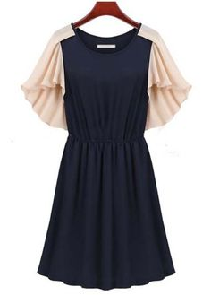 Cute Color Blocking Butterfly Sleeve A Line Dress