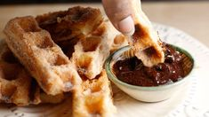 Easy Churros with Mexican Chocolate Dipping Sauce — no deep frying, they're made in a waffle iron