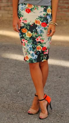 office look with a floral pencil skirt.