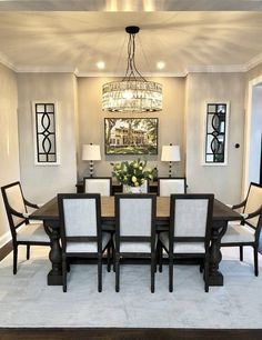 65 graceful farmhouse dining room design ideas that looks cool 26 Dining Room Table Decor, Elegant Dining Room, Beautiful Dining Rooms, Dining Room Lighting, Dining Room Design, Dining Room Furniture, Room Decor, Dining Chandelier, Dinning Room Ideas