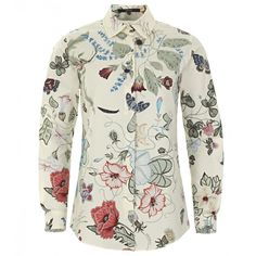 Gucci Pearl White Flora Knight Print Cotton Shirt featuring polyvore, fashion, clothing, tops, blouses, floral shirt, collared shirt, shirts & blouses, cotton shirts and white collared blouse