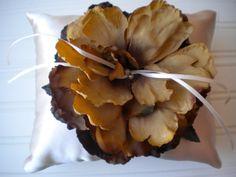 Golden Rose Ring Bearer Pillow by DaniCalve on Etsy, $22.00