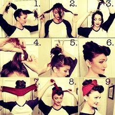 #rockabilly #hair #bandana #tutorial