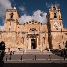 Note - the clocks, purposely all showing a different time.  Malta, Valletta, St John's Cathedral. Beautiful artwork inside