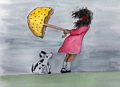 such a cute watercolor - plus I have a thing for black and white dogs