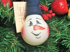 Hand Painted Light Bulb Snowman Ornament by by TreasuresToShare