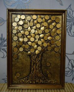 Coin Crafts, Magic Day, Clay Art Projects, Coin Art, Acrylic Painting Lessons, Money Trees, Mural Wall Art, Decoupage Paper, Button Crafts