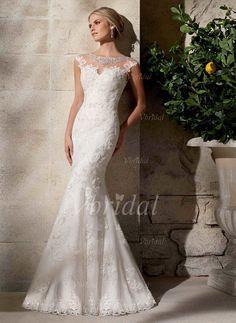 Brautkleider - $244.27 - Trompete/Meerjungfrau-Linie U-Ausschnitt Sweep/Pinsel zug Tüll Brautkleid mit Perlen verziert Applikationen Spitze (0025058291)
