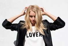 """Mother Denim   dirty white t-shirt with """"LOVER"""" graphic"""