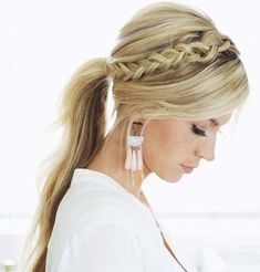 23 headband braid and ponytail hairstyle