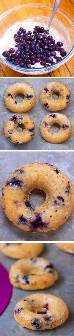 Blueberry Baked Donuts, with NO refined sugar, and no frying, all vegan donuts!