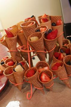 Fruit filled sugar cones