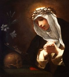detail of the oil on canvas painting 'Saint Catherine of Siena', 17th century by Baldassare Franceschini; Dulwich Picture Gallery, Dulwich, London, England; swiped from Wikimedia Commons