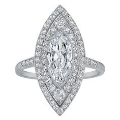 Art Deco Navette Diamond Platinum Ring   From a unique collection of vintage cocktail rings at https://www.1stdibs.com/jewelry/rings/cocktail-rings/