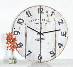 Items similar to White Beach Clock Wall Farmhouse Decor Beach Decor Rustic Farmhouse Clock on Etsy Industrial Farmhouse Decor, Farmhouse Wall Clocks, Rustic Farmhouse, Rustic Decor, Industrial Chic, Beach Wall Decor, Wooden Clock, Wall Hanger, Handmade Shop