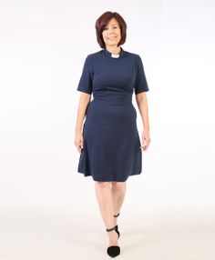 Knee Length Clergy Dress Navy Front