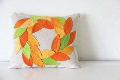 DIY Fall Wreath Pillow | WeAllSew Fall Sewing, Love Sewing, Raw Edge Applique, Fall Pillows, Toss Pillows, Diy Fall Wreath, Leaf Template, Easy Sewing Projects, Fall Projects
