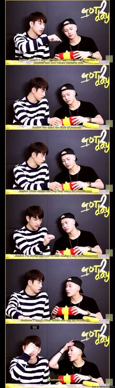 G O T 7 • Junior x Jackson • If I was Junior I'd get really pissed. Oh Jackson Hahaha #Got7 #JYP #Kpop