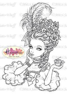 Digital Stamp Marie Antoinette Big Hair Rococo by AuroraWings