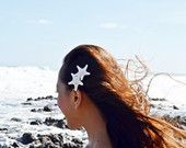 SALE -- Double White Knobby Starfish Mermaid Barrette/Clip - Bridal Accessories, Wedding Hair Clip, Bridal Headpieces