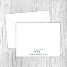 Men's Personalized Note Cards - Name with Script Initials Web Address, Small Letters, Personalized Note Cards, White Envelopes, Script, Texts, Card Stock, I Shop, Initials