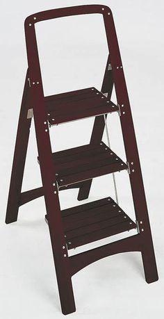 """WOOD 3- STEP STEPSTOOL (Mahogany) (44""""H x 18.25""""W x 25.38""""D)"""