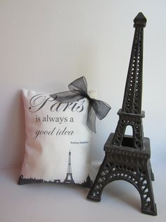 Paris Is Always A Good Idea - Mini Decorative Pillow - Paris Cityscape - Eiffel Tower - Audrey Hepburn Quote. $16.00, via Etsy.